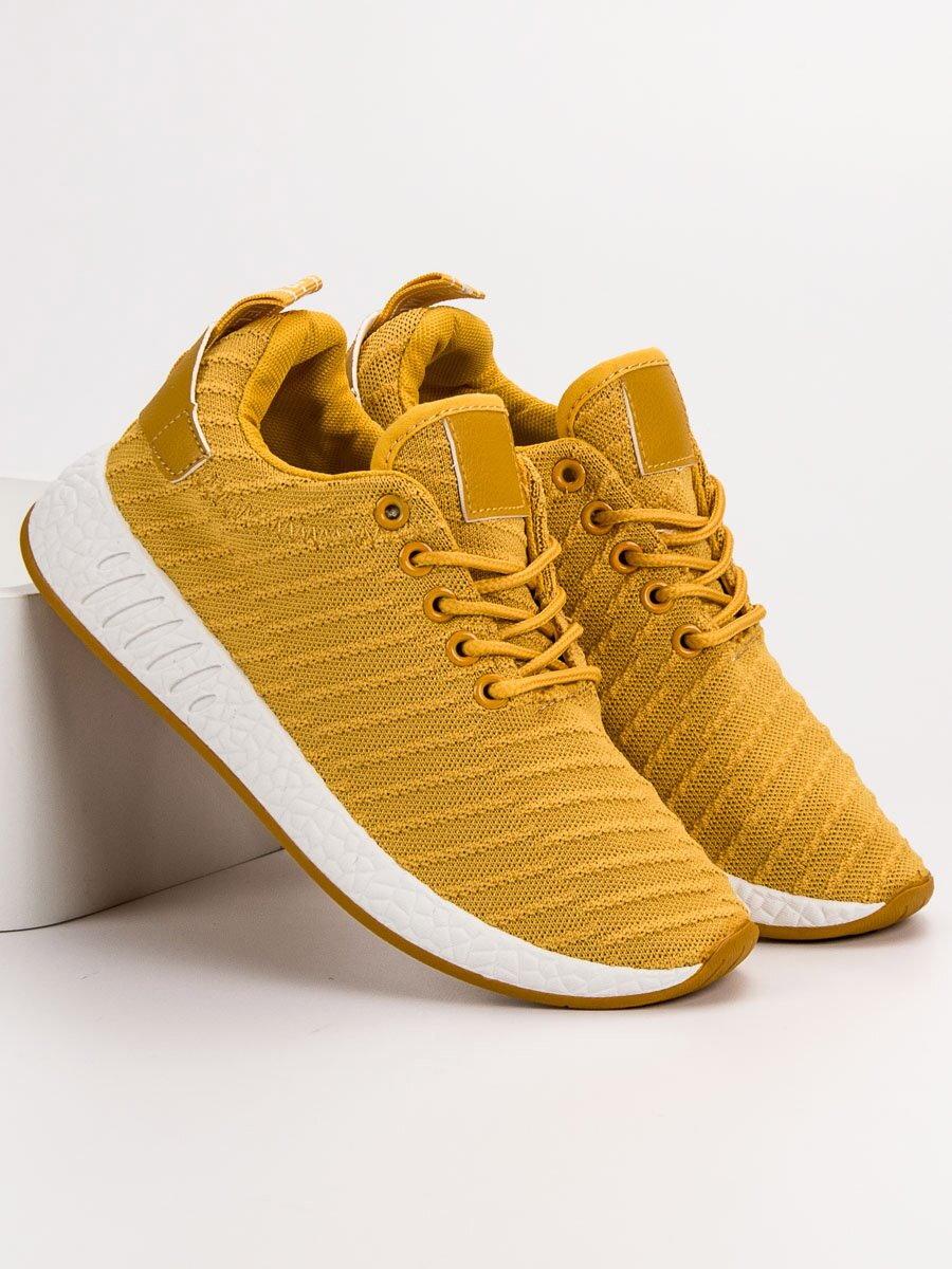 41d94bde63d6 Horčicové žlté textilné tenisky