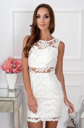 31c622b0194c Elegantné čipkované krémové šaty CO-30163