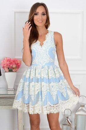 Čipkované šaty Luxury Lace CO-31284 bielo-bledomodré 66f0af2fc63