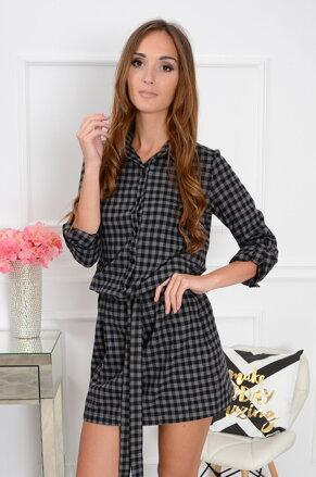 Šedo-čierne kockované šaty Bronx CO-32627 96eb4a99548