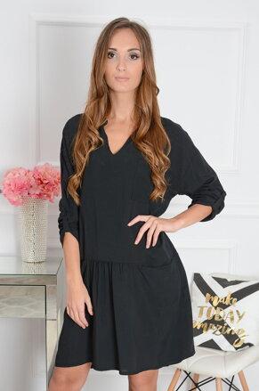 e39475315a Čierne šaty s vreckami Rita CO-32444