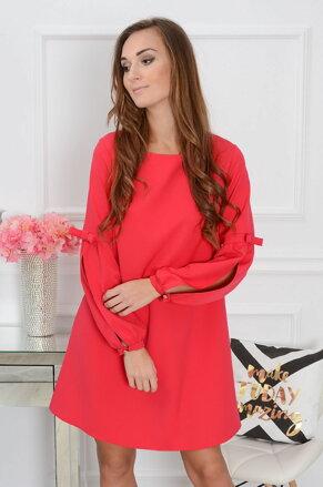 4e3e7d8656fe Červené šaty s prestrihnutými rukávmi Labella CO-32893