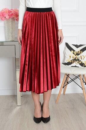 8b66207a7203 Plisovaná bordová midi-sukňa