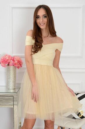 f46ded2716f4 Dámske šaty s tylom Sarah CO-36119 béžové