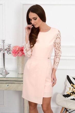 ad6e9e2a96 Púdrové šaty s krajkovaným rukávom Tilla CO-36836