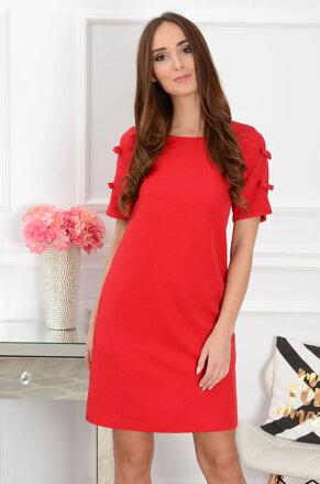 Šaty s ozdobnými rukávmi CO-37424 červené 9600642aa99