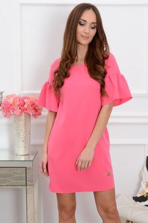 Fuchsiové šaty s volánmi na rukávoch Elia CO-37386 b2ed4e057bf