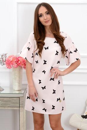 Púdrové šaty s motýlikmi Elia CO-37382 6222431c750
