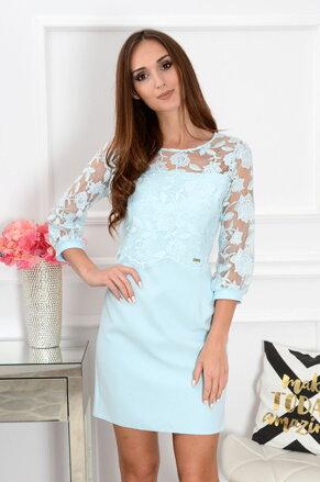 076130be40a0 Bledomodré šaty s krajkovaným bolerkom Delila CO-37557