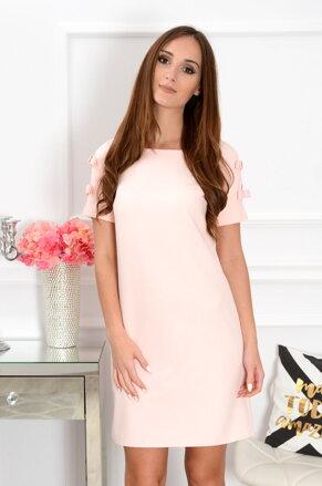 Púdrové šaty s mašličkami na rukávoch CO-37580 99d81b5e22d