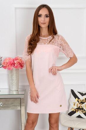 6fafed4f8695 Púdrové šaty s krajkou Lilace CO-37667
