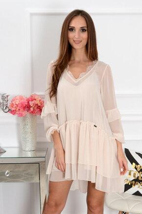 Šifónové béžové šaty Mea CO-37771 b424736a4dd