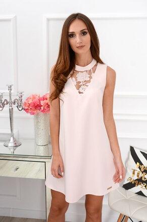 2d75a59ca8fe Púdrové šaty s krajkovým detailom Amalina CO-37548