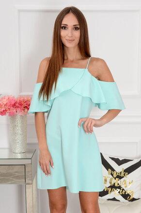 Mentolové šaty s volánom Nikola CO-38263 5e58a23c056