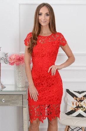 210421cb98 Elegantné midi šaty Sattin CO-38611 červené