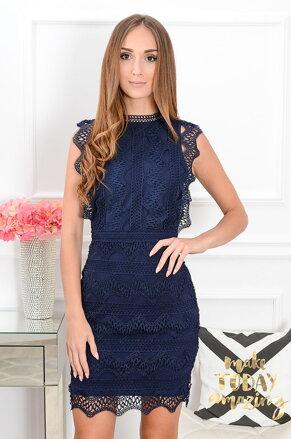 Tmavomodré krajkované šaty Kendal CO-38664 037620520dd