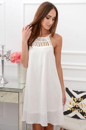 Biele šifónové šaty CO-38912 b370f94372a