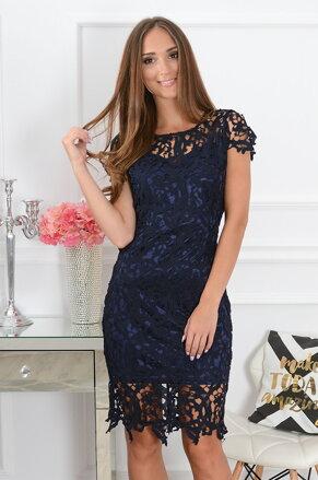 392848a4747e Krajkované elegantné šaty Sattin CO-39143 tmavomodré