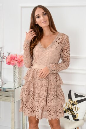f0a7ce0e9c94 Krajkované šaty Libee CO-39531 telovo-ružové