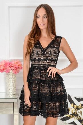 72e8be7d2098 Krajkované šaty Marissa CO-39519 čierno-béžové