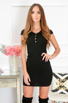 Priliehavé čierne šaty so zlatými gombíkmi CO-40116 8a364a37ff7