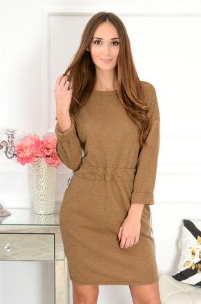 Hnedé šaty stiahnuté v páse Neli CO-40988 c6c776b6faa
