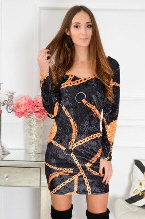 Čierne velúrové šaty so vzorom CO-41207 9b0cc792569