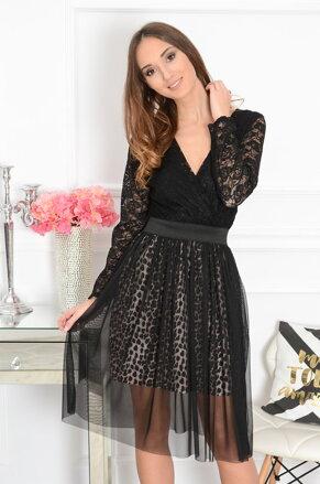 4d10022b7815 Krajkované čierne šaty Pussa CO-41883