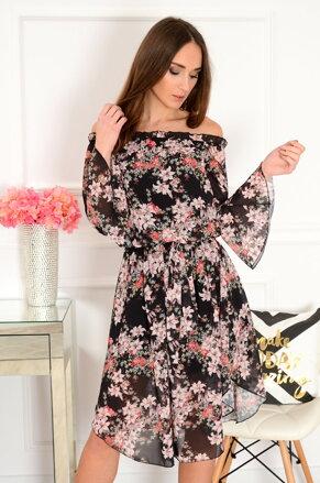 ac5137a1c9fb Čierne kvetinové midi šaty Abba