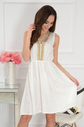 54013afab385 Smotanové šaty so zlatým detailom Brise