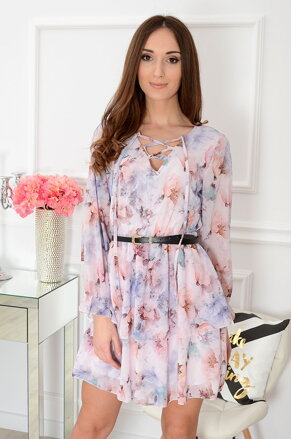 931d99bd6332 Púdrové šifónové šaty Estela