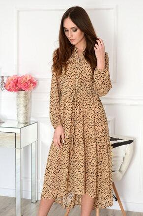 1d9ec5ae7ce0 Hnedé bodkované midi šaty Francesca
