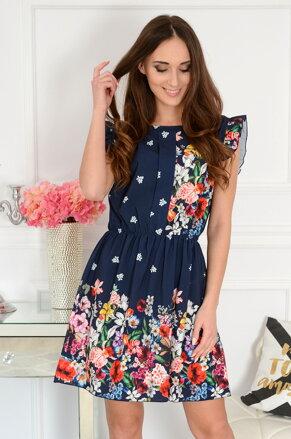 db157c5795b8 Tmavomodré kvetinové šaty Cecilia