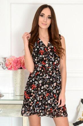 1201847ce035 Čierne kvetinkové šaty Abby