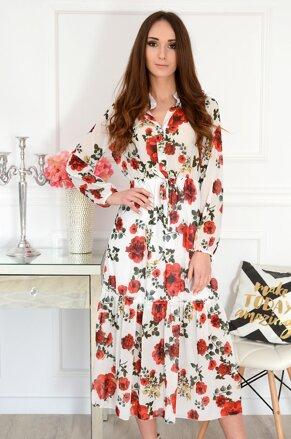 61e44af019a3 Šifónové midi šaty s kvetmi Peggy