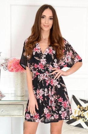 44156bbc8eb3 Čierne kvetované šaty Jula