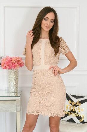 7d2f9cdb2708 Béžové krajkované šaty Indigo New