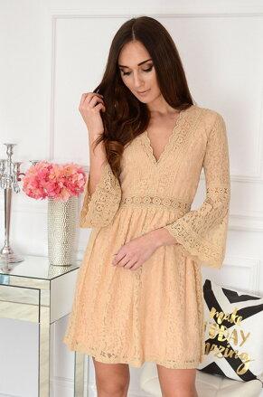 7b6b44e3304c Béžové krajkované šaty Malta