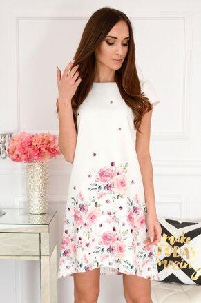 bfc6b5f04a99 Smotanové šaty s kvetinami Suzy