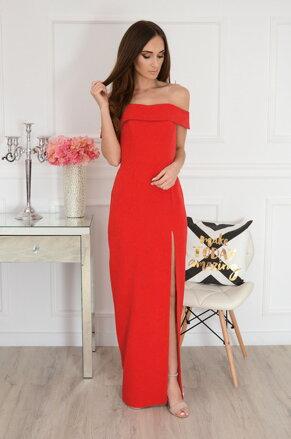 f6778eae8d8f Červené šaty s rázporkom Iwetta