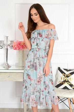 08a946956cb9 Mentolové kvetované midi šaty Arizona
