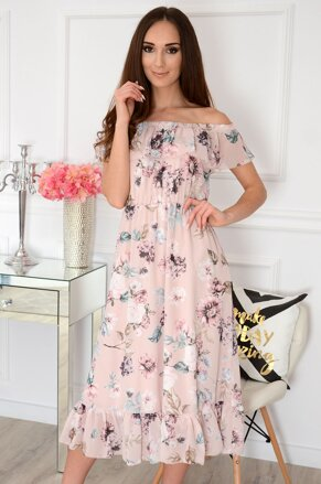 8f79d5ce2d4b Púdrové kvetované midi šaty Arizona