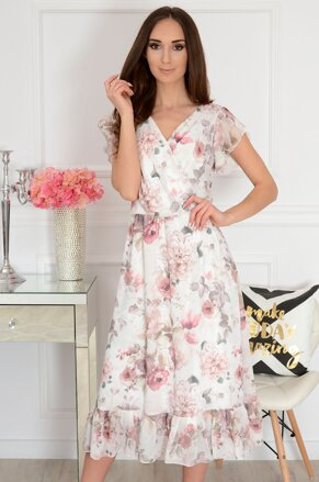 9612c6b0319b Smotanovo-biele šaty s kvetmi Aniela