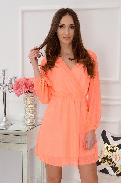 Neónové oranžové šifónové šaty Poppy 0899bb89073