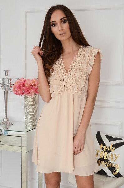 80be3cc35d43 Béžové dámske šaty s volánom Melodi